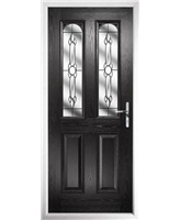 The Aberdeen Composite Door in Black with Crystal Bohemia
