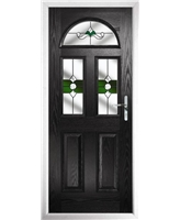 The Glasgow Composite Door in Black with Green Crystal Bohemia