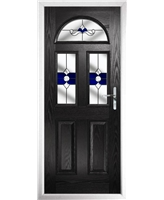 The Glasgow Composite Door in Black with Blue Crystal Bohemia