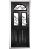 The Glasgow Composite Door in Black with Clear Crystal Bohemia