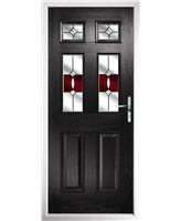 The Oxford Composite Door in Black with Red Crystal Bohemia