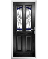 The Birmingham Composite Door in Black with Blue Crystal Harmony