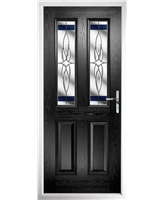 The Cardiff Composite Door in Black with Blue Crystal Harmony