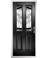 The Birmingham Composite Door in Black with Black Crystal Harmony