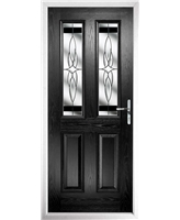 The Cardiff Composite Door in Black with Black Crystal Harmony