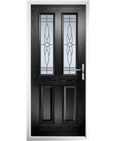 The Cardiff Composite Door in Black with Crystal Harmony Frost