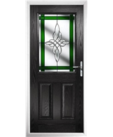 The Farnborough Composite Door in Black with Green Crystal Harmony