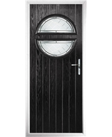 The Queensbury Composite Door in Black with Diamond Cut