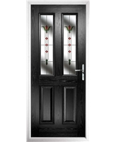 The Cardiff Composite Door in Black with Fleur
