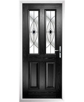The Cardiff Composite Door in Black with Black Fusion Ellipse