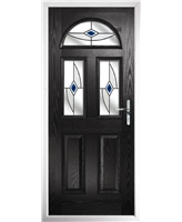 The Glasgow Composite Door in Black with Blue Fusion Ellipse