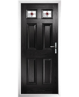 The Ipswich Composite Door in Black with Red Fusion Ellipse