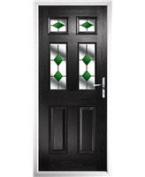 The Oxford Composite Door in Black with Green Diamonds