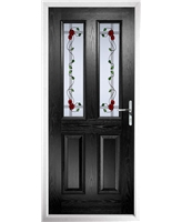 The Cardiff Composite Door in Black with Mackintosh Rose