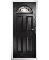 The Derby Composite Door in Black with Mackintosh Rose