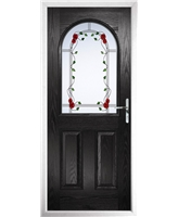 The Edinburgh Composite Door in Black with Mackintosh Rose