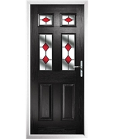 The Oxford Composite Door in Black with Red Diamonds