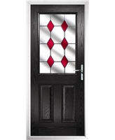 The Farnborough Composite Door in Black with Red Diamonds
