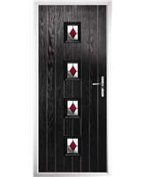 The Uttoxeter Composite Door in Black with Red Diamonds