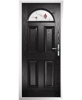 The Derby Composite Door in Black with Red Murano