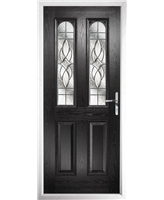 The Aberdeen Composite Door in Black with Zinc Art Elegance