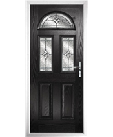 The Glasgow Composite Door in Black with Zinc Art Elegance