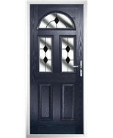 The Glasgow Composite Door in Blue with Black Diamonds
