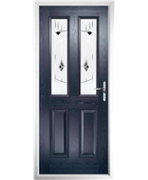 The Cardiff Composite Door in Blue with Black Murano
