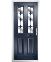 The Birmingham Composite Door in Blue with Blue Diamonds