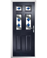 The Oxford Composite Door in Blue with Blue Diamonds