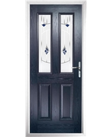 The Cardiff Composite Door in Blue with Blue Murano