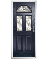 The Glasgow Composite Door in Blue with Brass Art Clarity