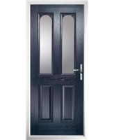The Aberdeen Composite Door in Blue with Clear Glazing