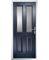 The Cardiff Composite Door in Blue with Clear Glazing