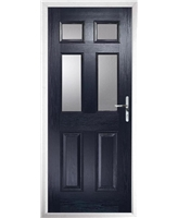 The Oxford Composite Door in Blue with Clear Glazing