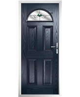 The Derby Composite Door in Blue with Green Crystal Bohemia