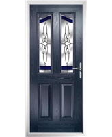 The Birmingham Composite Door in Blue with Blue Crystal Harmony