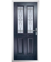The Cardiff Composite Door in Blue with Crystal Harmony Frost