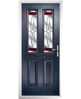 The Aberdeen Composite Door in Blue with Red Crystal Harmony