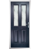 The Cardiff Composite Door in Blue with Diamond Cut