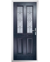 The Cardiff Composite Door in Blue with Flair Glazing