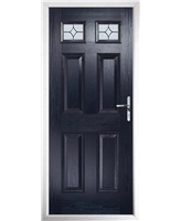 The Ipswich Composite Door in Blue with Flair Glazing