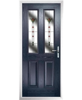 The Cardiff Composite Door in Blue with Fleur