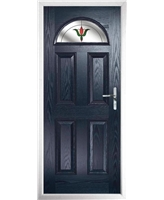 The Derby Composite Door in Blue with Fleur