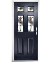The Oxford Composite Door in Blue with Fleur