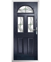 The Glasgow Composite Door in Blue with Green Fusion Ellipse