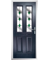The Cardiff Composite Door in Blue with Green Diamonds