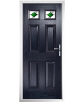 The Ipswich Composite Door in Blue with Green Diamonds