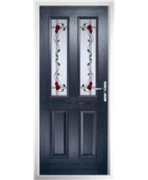 The Cardiff Composite Door in Blue with Mackintosh Rose