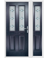 The Cardiff Composite Door in Blue with Simplicity and matching Side Panel